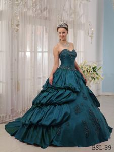 Appliqued Teal Sweetheart Dresses Quinceanera with Court Train