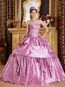 Flowers and Appliques Accent Quinceanera Dresses Gown in Rose Pink
