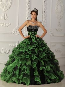 Green and Blue Organza Dresses for 15 with Beading and Ruffles
