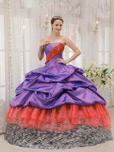 Zebra Print Colorful Sweet Sixteen Dresses with Pick ups Beading