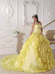 Bright Yellow Strapless Court Train Ruffles Sweet Sixteen Dress Giulias dress