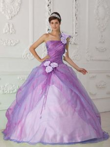 Flowery Ruched One Shoulder Organza Sweet 15 Dress in Lilac