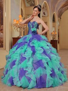 2013 Popular Colorful Sweet 15 Dresses with Appliques and Ruffles
