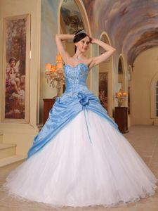 Blue and White A-line Sweetheart Sweet 15 Dresses with Appliques
