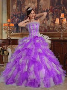 Ruffles and Appliques Accent Quinceanera Gowns in Lavender and White