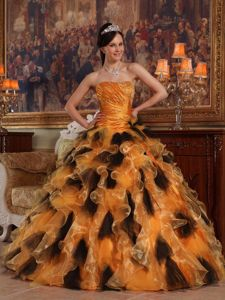Beaded and Ruched Orange and Black Quinceanera Gowns with Ruffles