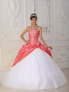 Appliqued Watermelon and White Quinceanera Gowns with Pick ups