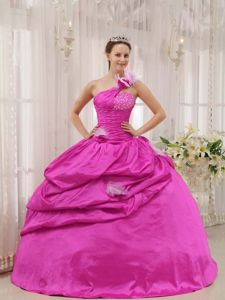 Flowery and Beaded One Shoulder Quinceanera Dresses in Hot Pink