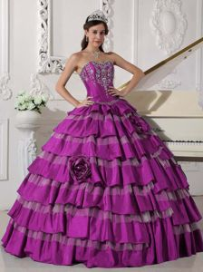 Fuchsia Sweetheart Quinceanera Dress with Ruffled Layers Appliques
