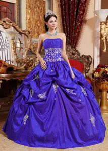 Purple Taffeta Quinceanera Dress with Pick ups and Appliques 2013