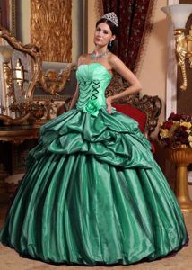 Pick ups Accent Black and Mint Strapless Quinceanera Gown Dresses