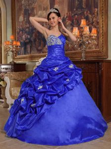 Pick ups and Appliques Accent Royal Blue Quinceanera Gown Dresses