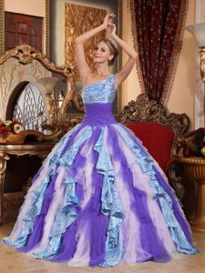 Zebra Print Colorful One Shoulder Ruffled Quinceanera Gown Dress