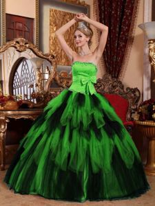 Ruffled Spring Green Quinceanera Gown Dresses with Beading and Bow