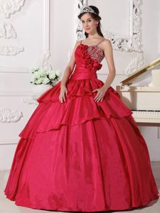 Spaghetti Straps Flowery and Beaded Coral Red Quinceanera Gowns