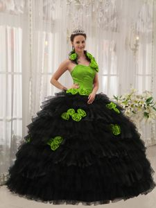 Flowery Halter Ruffles Quinceanera Gown in Black and Spring Green