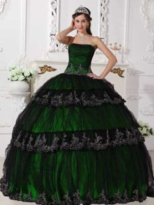Black and Hunter Green Quinceanera Gown with Ruches and Appliques
