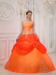 Appliqued Orange Red Strapless Quinceanera Gown of Floor Length