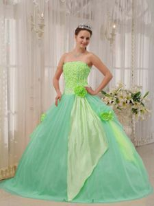 Flowers Accent Yellow Green and Apple Green Quinces Dresses 2013
