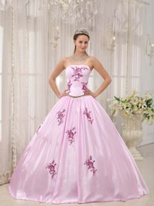 Baby Pink Strapless Taffeta Quinces Dresses with Appliques 2013