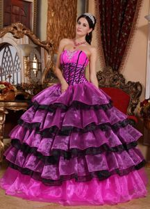 Pink and Black Quinceanera Dress in Organza and Zebra Print Fabric