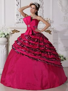 Beaded Fuchsia Quinceanera Dress With Zebra Print Fabric and Ruffles