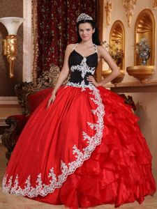 V-neck Red and Black Sweet 16 Dress with Appliques and Ruffles