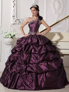 Taffeta One Shoulder Dark Purple Sweet 16 Dress with Pick-ups