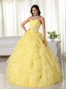 Yellow Multi-Layered Appliqued Quinces Dresses with Ruffles