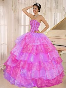 Lovely Peach Puffy Strapless Multi-Layered Quinceanera Dresses Sydney Film Festival