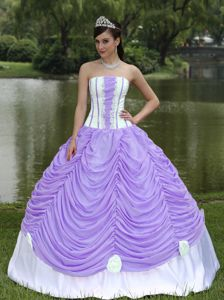 Light Purple and White Ruffled Quince Dresses with Hand Made Flowers