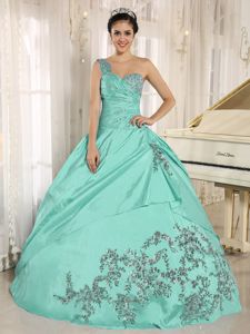 Aquamarine Quinceanera Dresses with Beading and Ruched Bodice ...