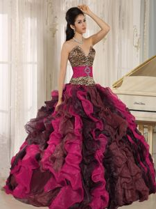 Multi-color Leopard Print Organza Sweet Sixteen Dresses with Ruffles