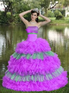 Strapless Organza Quinceanera Gown with Ruffled Layers a La Mode