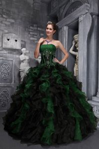 Dark Green Ball Gown Ruffled Strapless Quinceanera Gown in Vogue