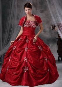 Maroon Gorgeous Taffeta Appliques Quinceanera Dress for Military Balls