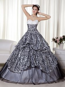 White and Black A-line Quinceanera Dresses Gowns with Zebra Print