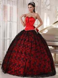 Red and Black Tulle Sweetheart Dresses for A Quince with Bowknot