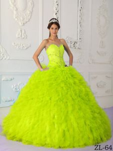 Alison Lohman Beaded and Ruffled Yellow Green Sweet Sixteen Quinceanera Dresses