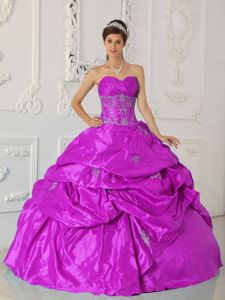 Embroidered Fuchsia Sweetheart Taffeta Quinceanera Gown Dresses