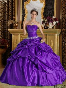 Appliques and Pick ups Accent Quinceanera Gown in Eggplant Purple