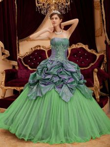 Two Toned Green Strapless Quinceanera Gown with Pick ups Appliques