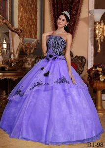 Embroidered Lavender Strapless Quinces Dresses with Flowers 2013
