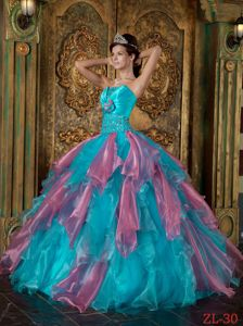 Ruffled Teal and Rose Pink Quinceanera Dresses with Beading 2014