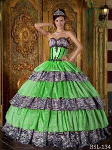 Spring Green Quinceanera Dresses with Appliques and Zebra Print