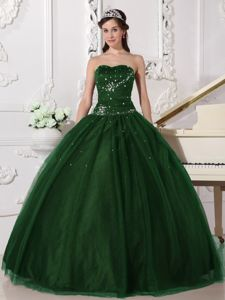 Modest Hunter Green Sweetheart Tulle Rhinestones Quinceanera Dress