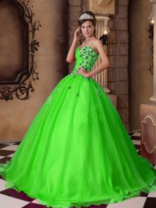 A-line Sweetheart Floor-length Beading Quinceanera Dress Spring Green