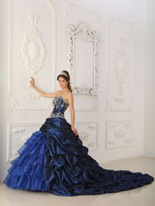 Royal Blue Sweetheart Appliques Quinceanera Dress with Pick-ups