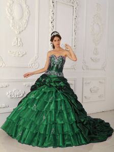 Dark Green Sweetheart Chapel Train Appliques Quinceanera Dress