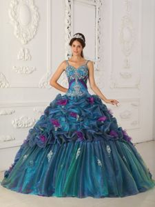 Spaghetti Straps Multi-color Ball Gown Dress Style Chapel Train